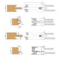 Комплект фрез, с механическим креплением пластин, для изготовления обвязки и шипа дверей