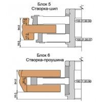 Комплект фрез, с механическим креплением ножей, для изготовления окон с поворотной фурнитурой (Брус 54х80)