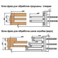 Комплект фрез, напаянных пластинами твердого сплава, для изготовления окон с поворотно-откидной фурнитурой (Брус 68х83)