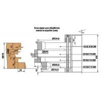 Комплект фрез, напаянных пластинами твердого сплава, для изготовления окон и балконных блоков с поворотно-откидной фурнитурой с сечением бруса 68 и 78 мм.