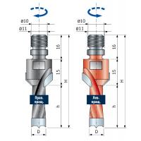 PF08MDB - PF08MSB Сверла с коническим зенкером для присадочных станков - глухие отверстия