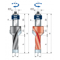 PF08MDC - PF08MSC Сверла с коническим зенкером для присадочных станков - глухие отверстия