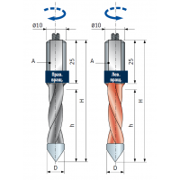 PF10MD - PF10MS Сверла для присадочных станков - сквозные отверстия